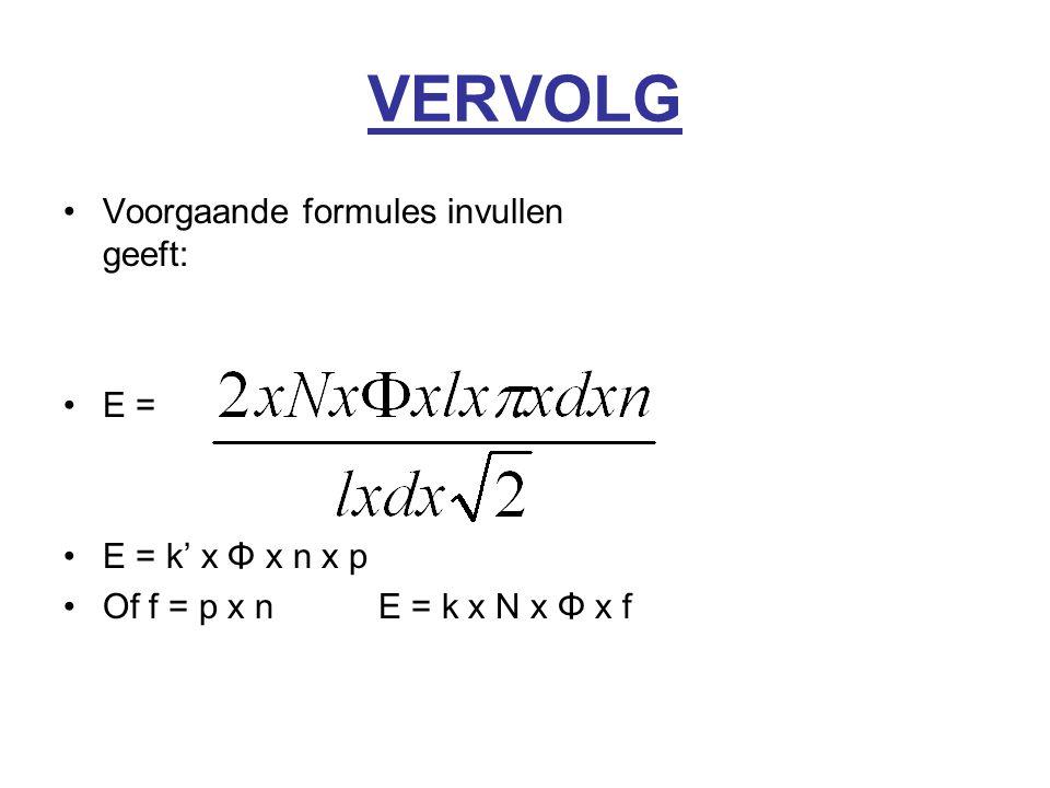 VERVOLG Voorgaande formules invullen geeft: E = E = k' x Φ x n x p Of f = p x nE = k x N x Φ x f