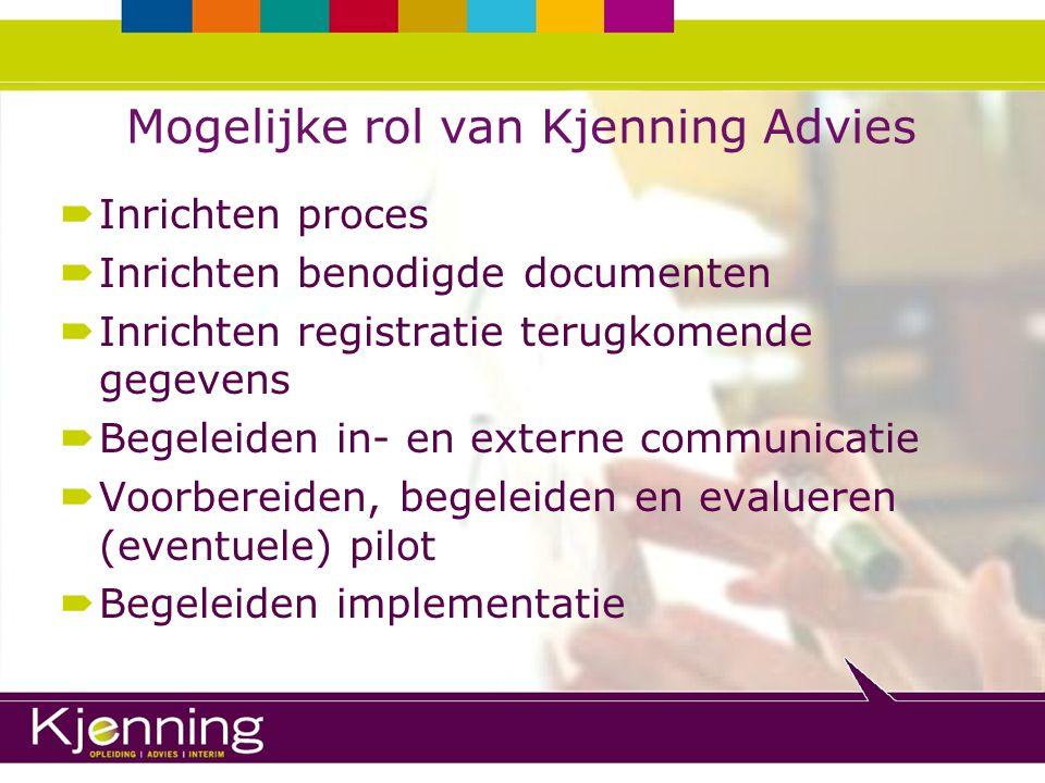 Mogelijke rol van Kjenning Advies  Inrichten proces  Inrichten benodigde documenten  Inrichten registratie terugkomende gegevens  Begeleiden in- e