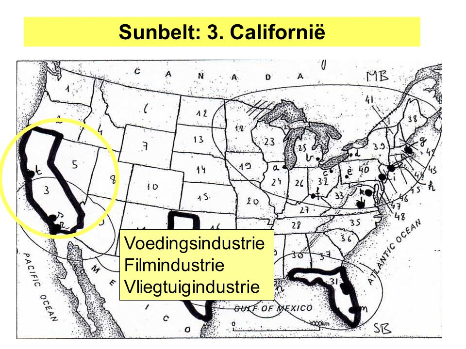 Sunbelt: 3. Californië Voedingsindustrie Filmindustrie Vliegtuigindustrie