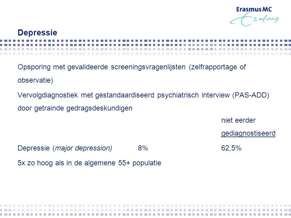 Depressie Opsporing met gevalideerde screeningsvragenlijsten (zelfrapportage of observatie) Vervolgdiagnostiek met gestandaardiseerd psychiatrisch int