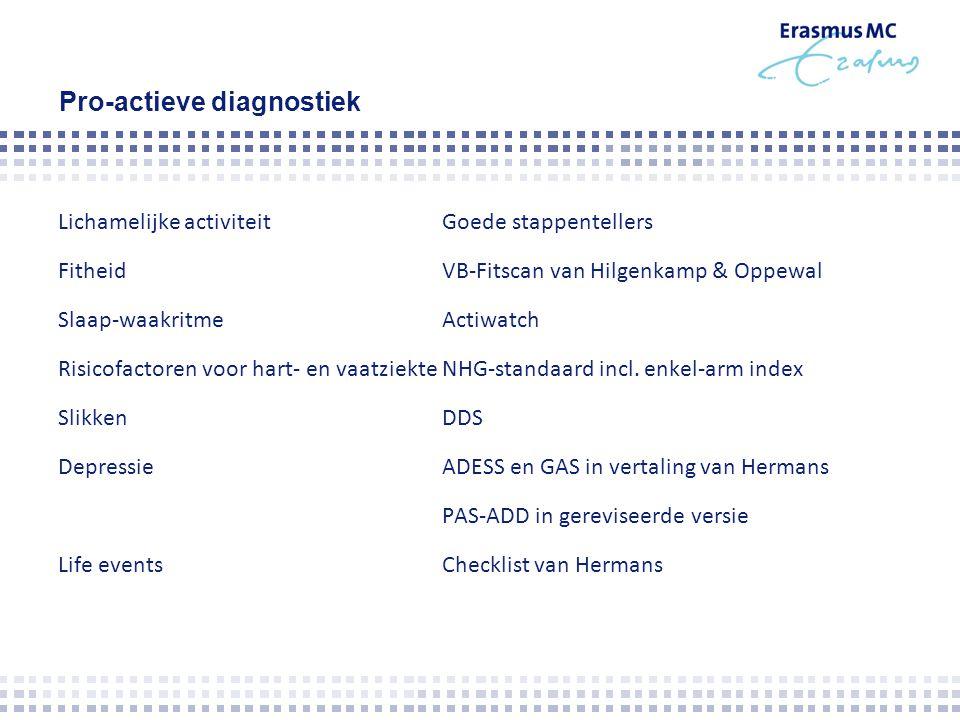 Pro-actieve diagnostiek Lichamelijke activiteitGoede stappentellers FitheidVB-Fitscan van Hilgenkamp & Oppewal Slaap-waakritmeActiwatch Risicofactoren