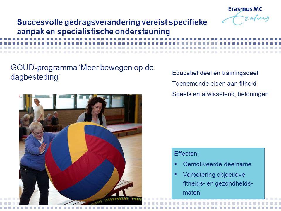 Succesvolle gedragsverandering vereist specifieke aanpak en specialistische ondersteuning Educatief deel en trainingsdeel Toenemende eisen aan fitheid