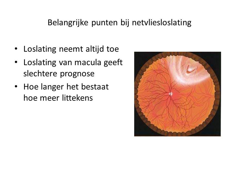 Anti-VEGF behandelingen voor myope degeneratie Hoe eerder hoe beter maandelijkse injecties verbetering visuele prognose Geen effect bij droge vorm