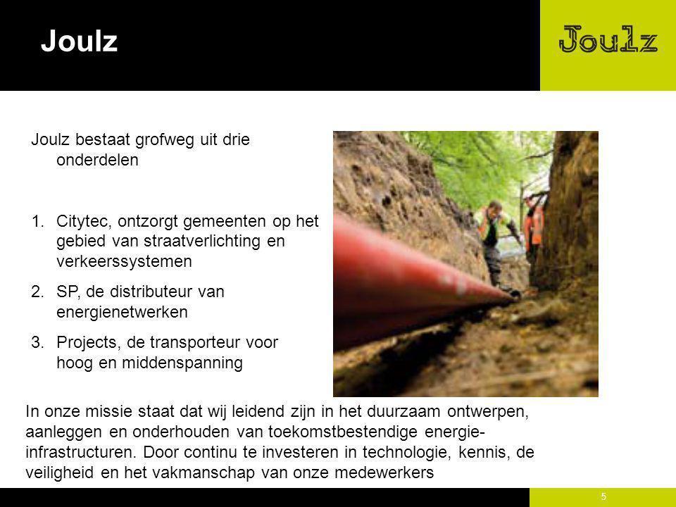 5 Joulz Joulz bestaat grofweg uit drie onderdelen 1.Citytec, ontzorgt gemeenten op het gebied van straatverlichting en verkeerssystemen 2.SP, de distr