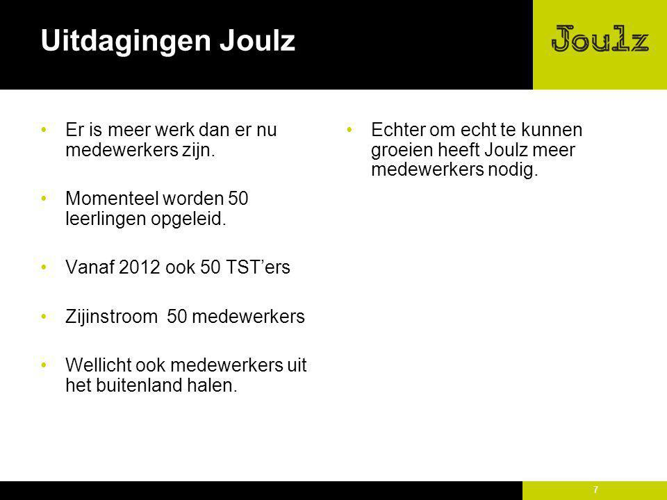 7 Uitdagingen Joulz Er is meer werk dan er nu medewerkers zijn. Momenteel worden 50 leerlingen opgeleid. Vanaf 2012 ook 50 TST'ers Zijinstroom 50 mede