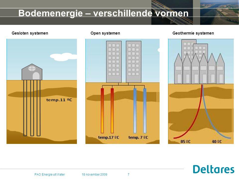 18 november 2009PAO Energie uit Water38 WP3: WKO en sanering Sanerende werking van rondpompen: (bio)wasmachine Effect van verontreiniging op WKO Effect van WKO op afbraak Corrosie, verstopping.