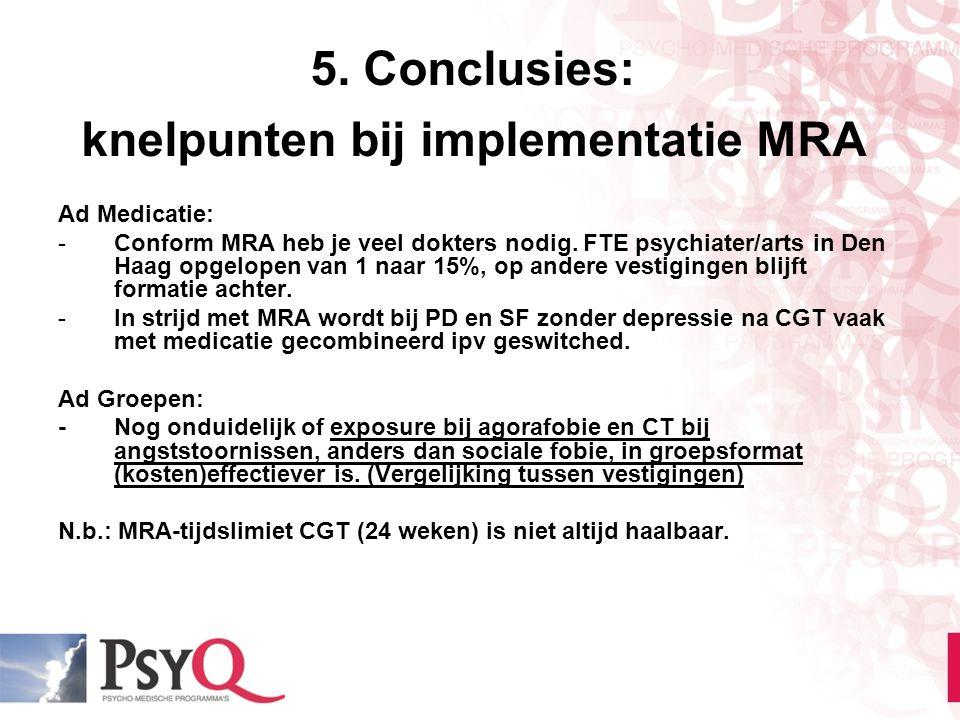 5. Conclusies: knelpunten bij implementatie MRA Ad Medicatie: -Conform MRA heb je veel dokters nodig. FTE psychiater/arts in Den Haag opgelopen van 1