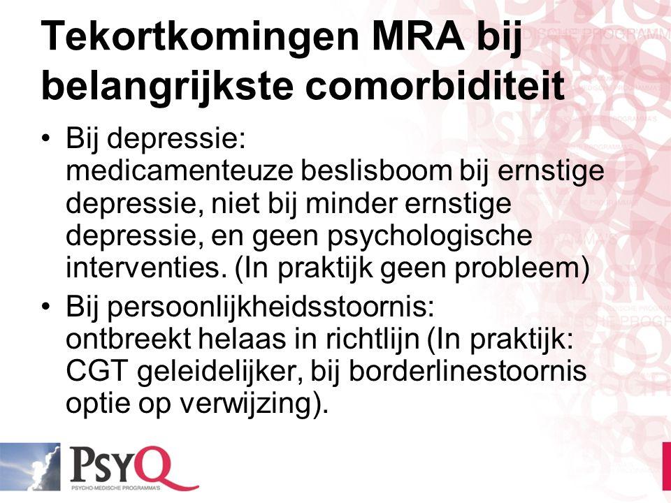 Tekortkomingen MRA bij belangrijkste comorbiditeit Bij depressie: medicamenteuze beslisboom bij ernstige depressie, niet bij minder ernstige depressie