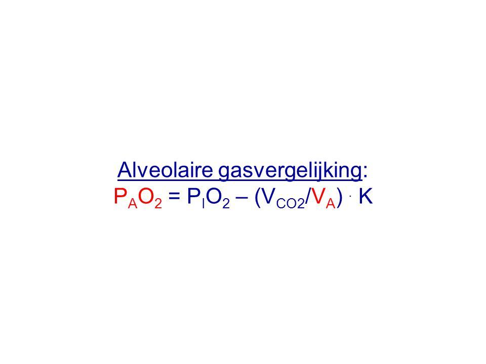 Alveolaire gasvergelijking: P A O 2 = P I O 2 – (V CO2 /V A ). K