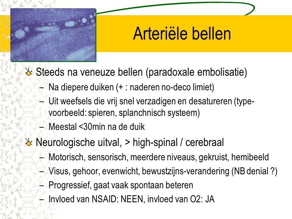 Arteriële bellen Steeds na veneuze bellen (paradoxale embolisatie) –Na diepere duiken (+ : naderen no-deco limiet) –Uit weefsels die vrij snel verzadi