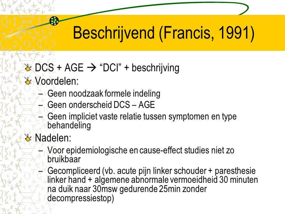 """Beschrijvend (Francis, 1991) DCS + AGE  """"DCI"""" + beschrijving Voordelen: –Geen noodzaak formele indeling –Geen onderscheid DCS – AGE –Geen impliciet v"""