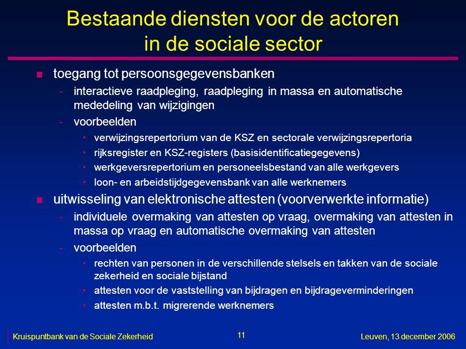11 Kruispuntbank van de Sociale ZekerheidLeuven, 13 december 2006 Bestaande diensten voor de actoren in de sociale sector n toegang tot persoonsgegeve