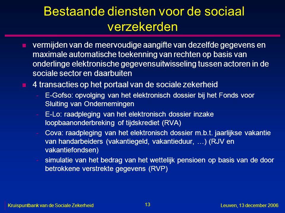 13 Kruispuntbank van de Sociale ZekerheidLeuven, 13 december 2006 Bestaande diensten voor de sociaal verzekerden n vermijden van de meervoudige aangif