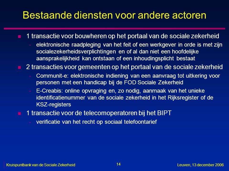 14 Kruispuntbank van de Sociale ZekerheidLeuven, 13 december 2006 Bestaande diensten voor andere actoren n 1 transactie voor bouwheren op het portaal