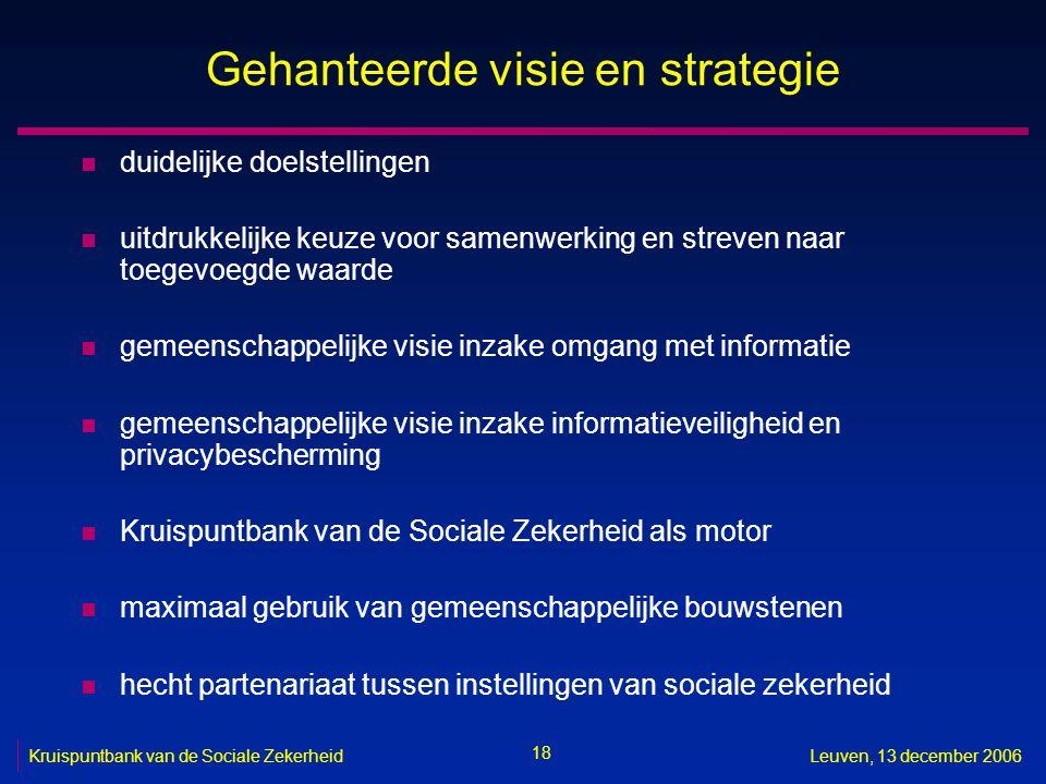 18 Kruispuntbank van de Sociale ZekerheidLeuven, 13 december 2006 Gehanteerde visie en strategie n duidelijke doelstellingen n uitdrukkelijke keuze vo