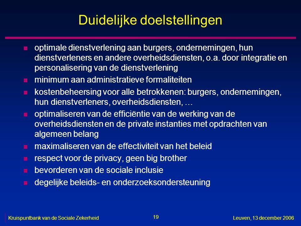 19 Kruispuntbank van de Sociale ZekerheidLeuven, 13 december 2006 Duidelijke doelstellingen n optimale dienstverlening aan burgers, ondernemingen, hun