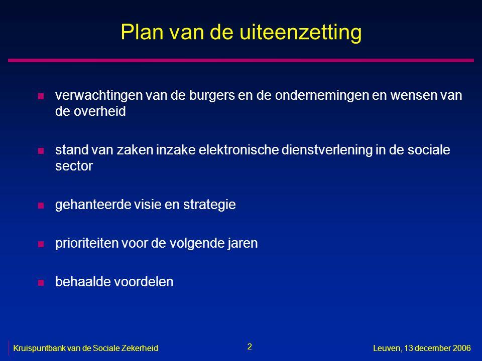 2 Leuven, 13 december 2006 Plan van de uiteenzetting n verwachtingen van de burgers en de ondernemingen en wensen van de overheid n stand van zaken in