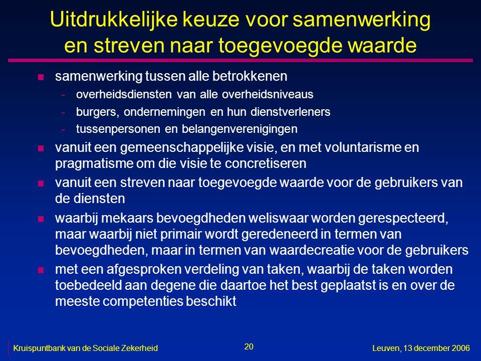 20 Kruispuntbank van de Sociale ZekerheidLeuven, 13 december 2006 Uitdrukkelijke keuze voor samenwerking en streven naar toegevoegde waarde n samenwer