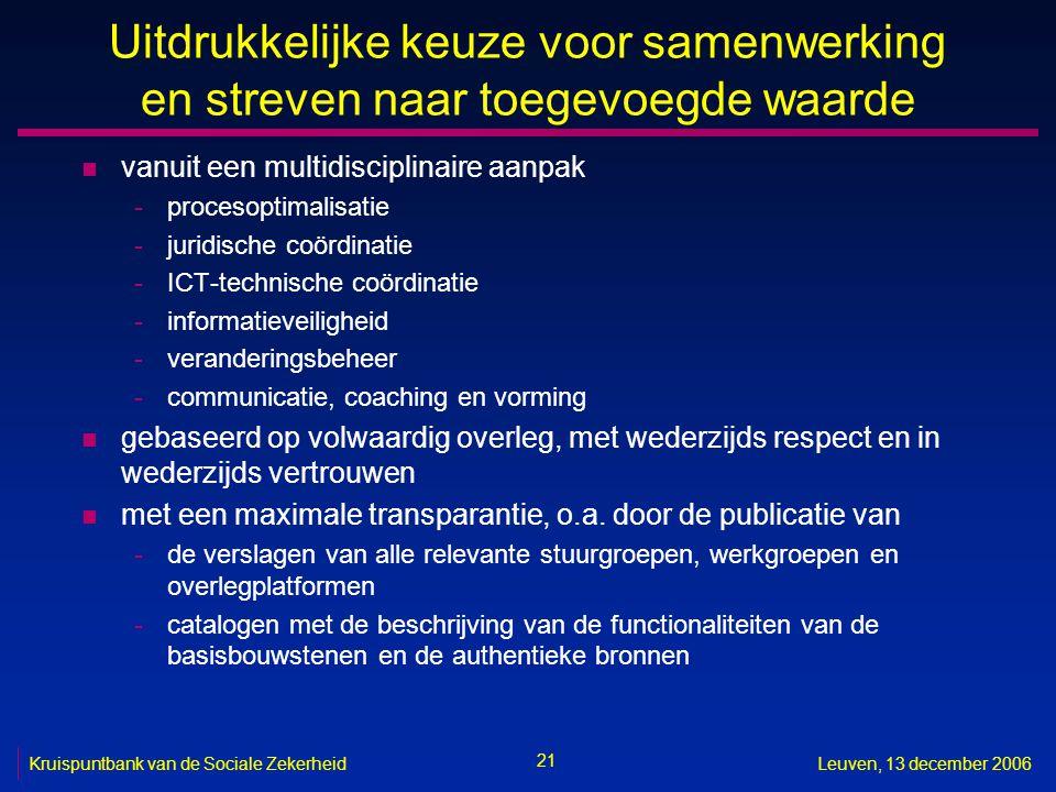 21 Kruispuntbank van de Sociale ZekerheidLeuven, 13 december 2006 Uitdrukkelijke keuze voor samenwerking en streven naar toegevoegde waarde n vanuit e