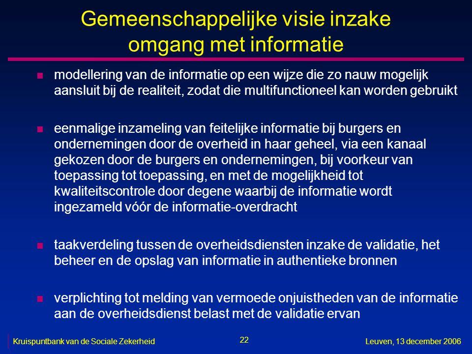 22 Kruispuntbank van de Sociale ZekerheidLeuven, 13 december 2006 Gemeenschappelijke visie inzake omgang met informatie n modellering van de informati