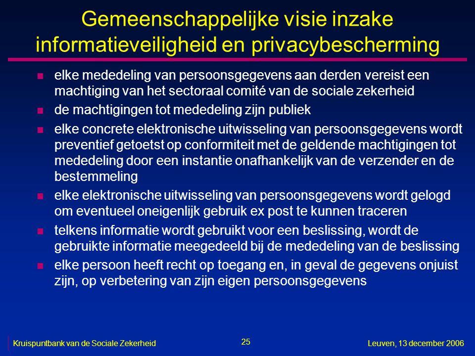 25 Kruispuntbank van de Sociale ZekerheidLeuven, 13 december 2006 Gemeenschappelijke visie inzake informatieveiligheid en privacybescherming n elke me