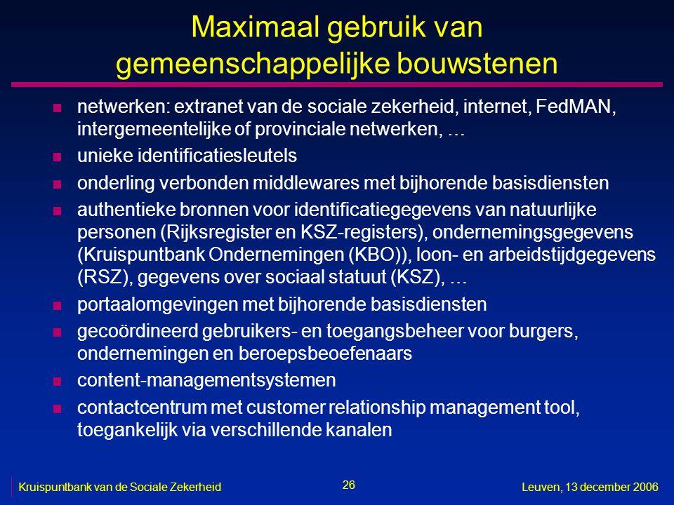 26 Kruispuntbank van de Sociale ZekerheidLeuven, 13 december 2006 Maximaal gebruik van gemeenschappelijke bouwstenen n netwerken: extranet van de soci
