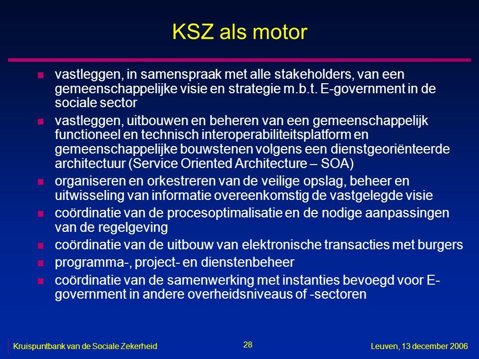 28 Kruispuntbank van de Sociale ZekerheidLeuven, 13 december 2006 KSZ als motor n vastleggen, in samenspraak met alle stakeholders, van een gemeenscha