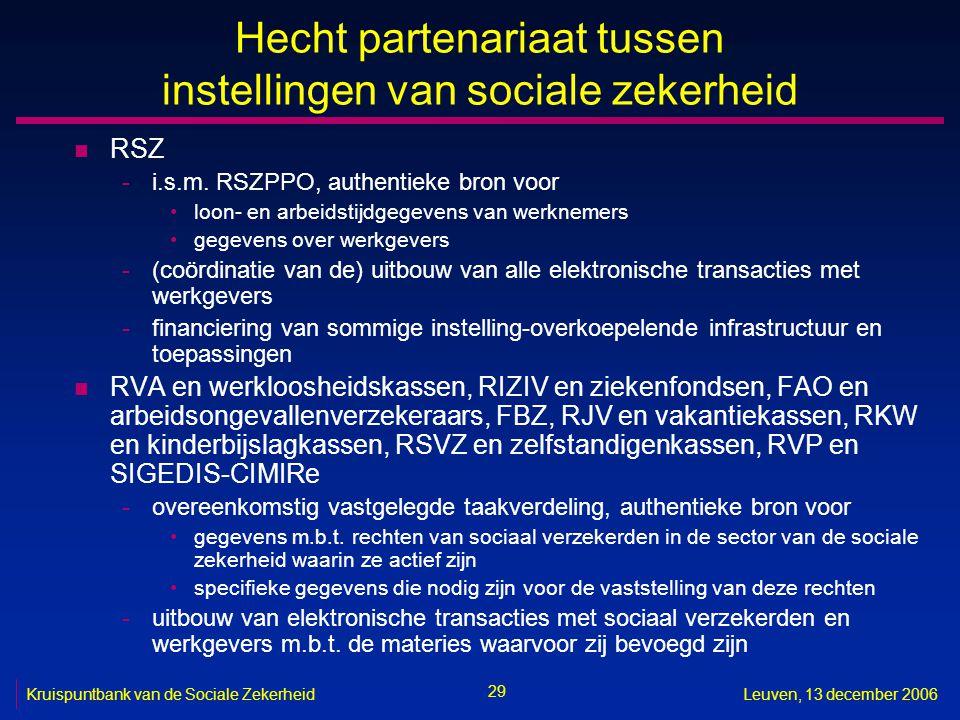 29 Kruispuntbank van de Sociale ZekerheidLeuven, 13 december 2006 Hecht partenariaat tussen instellingen van sociale zekerheid n RSZ -i.s.m. RSZPPO, a