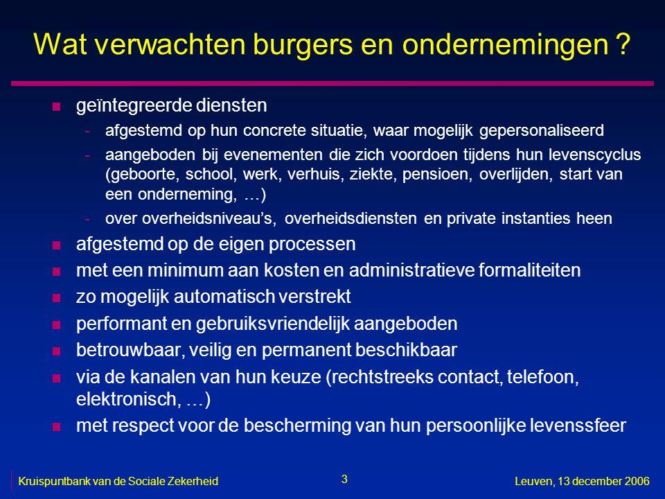 3 Kruispuntbank van de Sociale ZekerheidLeuven, 13 december 2006 Wat verwachten burgers en ondernemingen ? n geïntegreerde diensten -afgestemd op hun