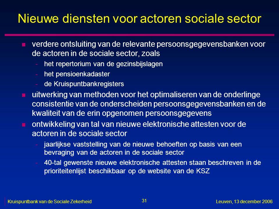 31 Kruispuntbank van de Sociale ZekerheidLeuven, 13 december 2006 Nieuwe diensten voor actoren sociale sector n verdere ontsluiting van de relevante p