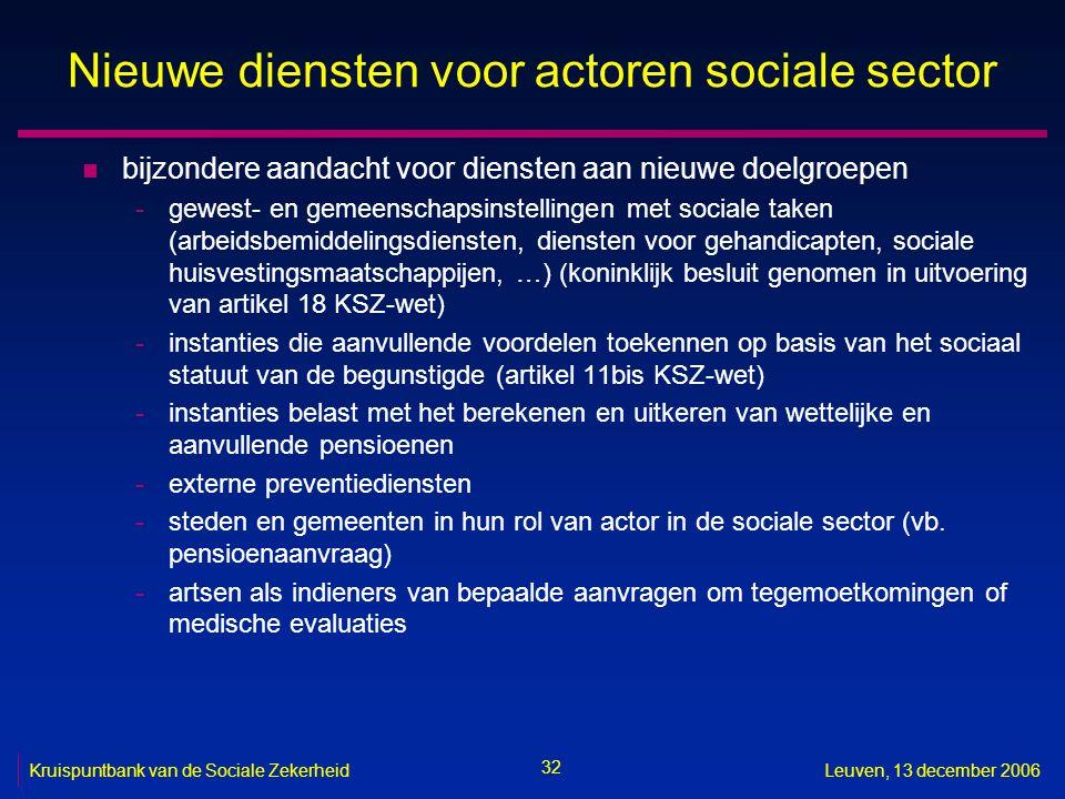 32 Kruispuntbank van de Sociale ZekerheidLeuven, 13 december 2006 Nieuwe diensten voor actoren sociale sector n bijzondere aandacht voor diensten aan