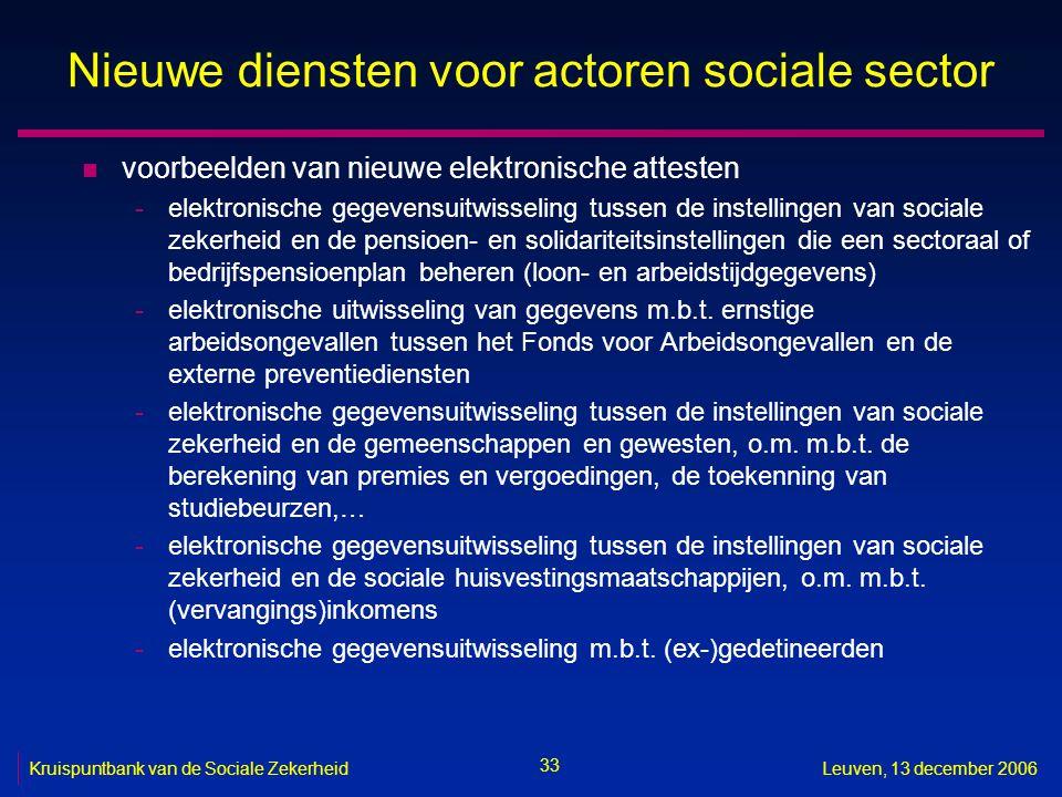 33 Kruispuntbank van de Sociale ZekerheidLeuven, 13 december 2006 Nieuwe diensten voor actoren sociale sector n voorbeelden van nieuwe elektronische a