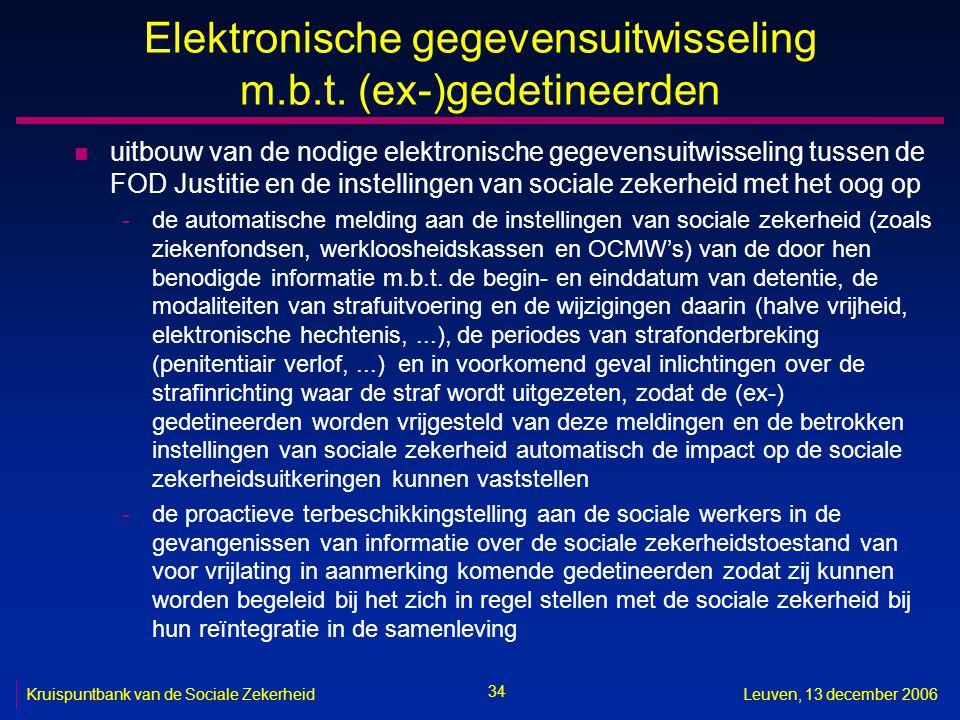 34 Kruispuntbank van de Sociale ZekerheidLeuven, 13 december 2006 Elektronische gegevensuitwisseling m.b.t. (ex-)gedetineerden n uitbouw van de nodige