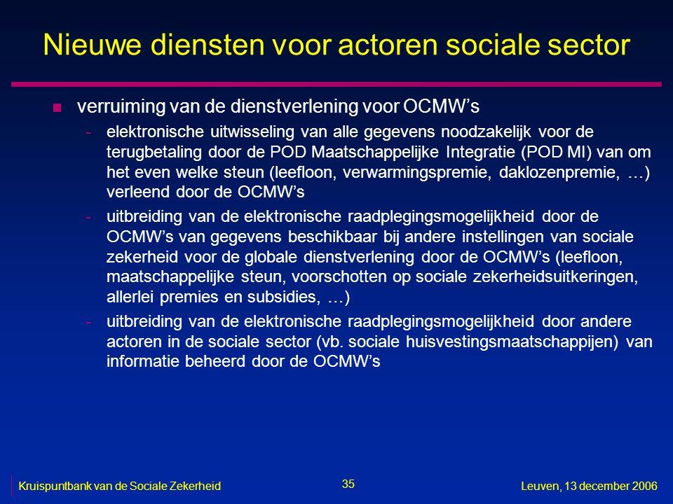35 Kruispuntbank van de Sociale ZekerheidLeuven, 13 december 2006 Nieuwe diensten voor actoren sociale sector n verruiming van de dienstverlening voor