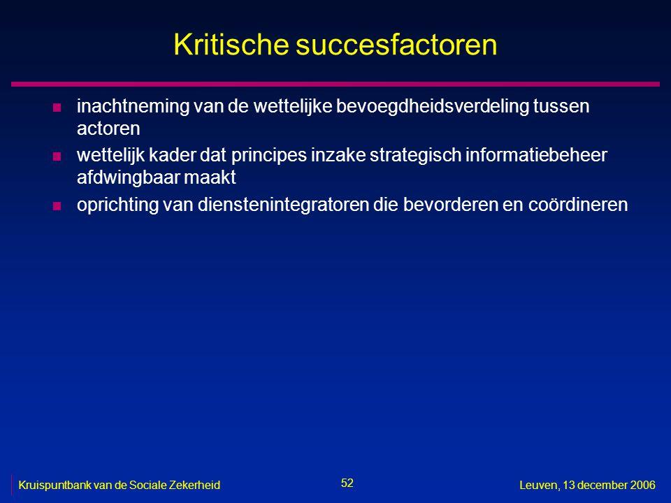 52 Kruispuntbank van de Sociale ZekerheidLeuven, 13 december 2006 Kritische succesfactoren n inachtneming van de wettelijke bevoegdheidsverdeling tuss