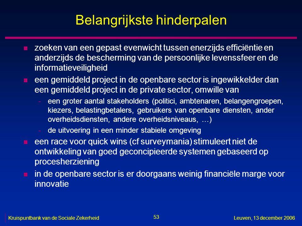 53 Kruispuntbank van de Sociale ZekerheidLeuven, 13 december 2006 Belangrijkste hinderpalen n zoeken van een gepast evenwicht tussen enerzijds efficië