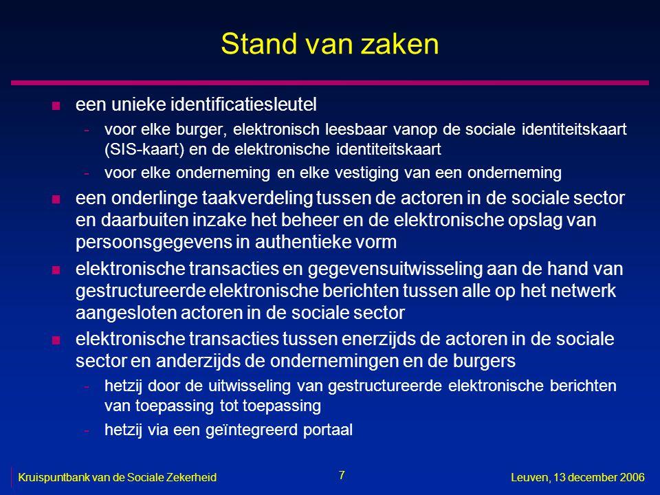7 Kruispuntbank van de Sociale ZekerheidLeuven, 13 december 2006 Stand van zaken n een unieke identificatiesleutel -voor elke burger, elektronisch lee