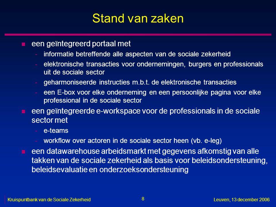 8 Kruispuntbank van de Sociale ZekerheidLeuven, 13 december 2006 Stand van zaken n een geïntegreerd portaal met -informatie betreffende alle aspecten