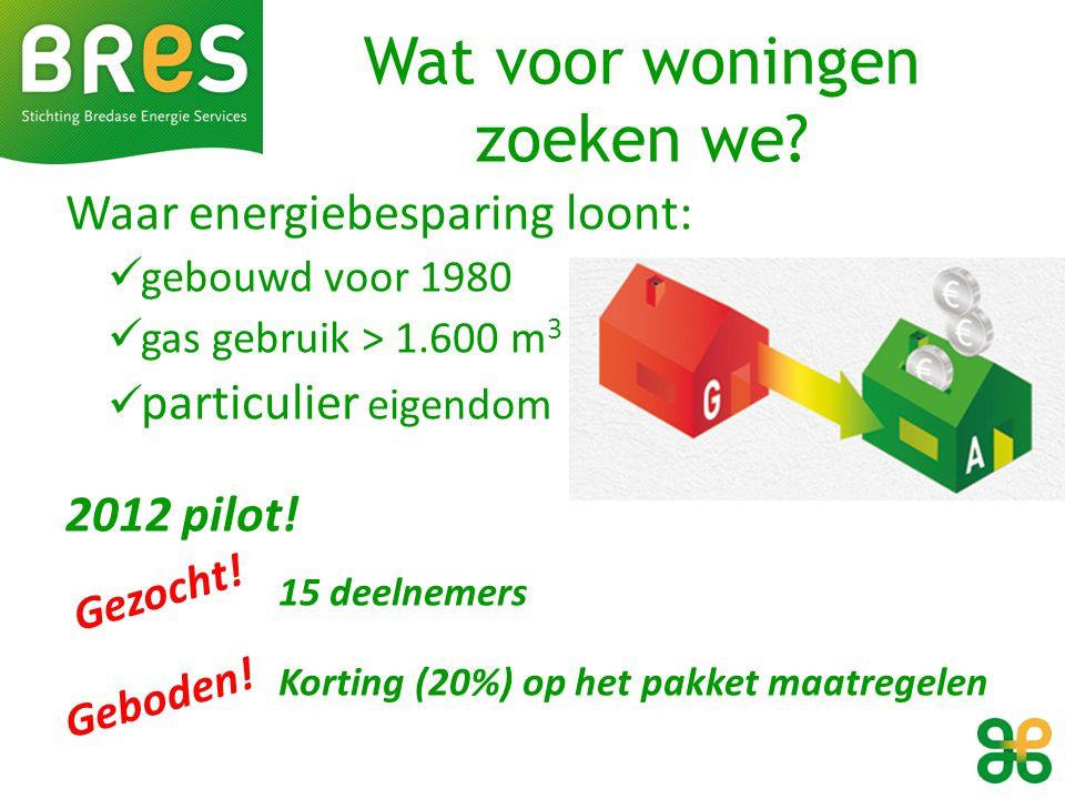 Wat voor woningen zoeken we? Waar energiebesparing loont: gebouwd voor 1980 gas gebruik > 1.600 m 3 particulier eigendom 2012 pilot! 15 deelnemers Kor