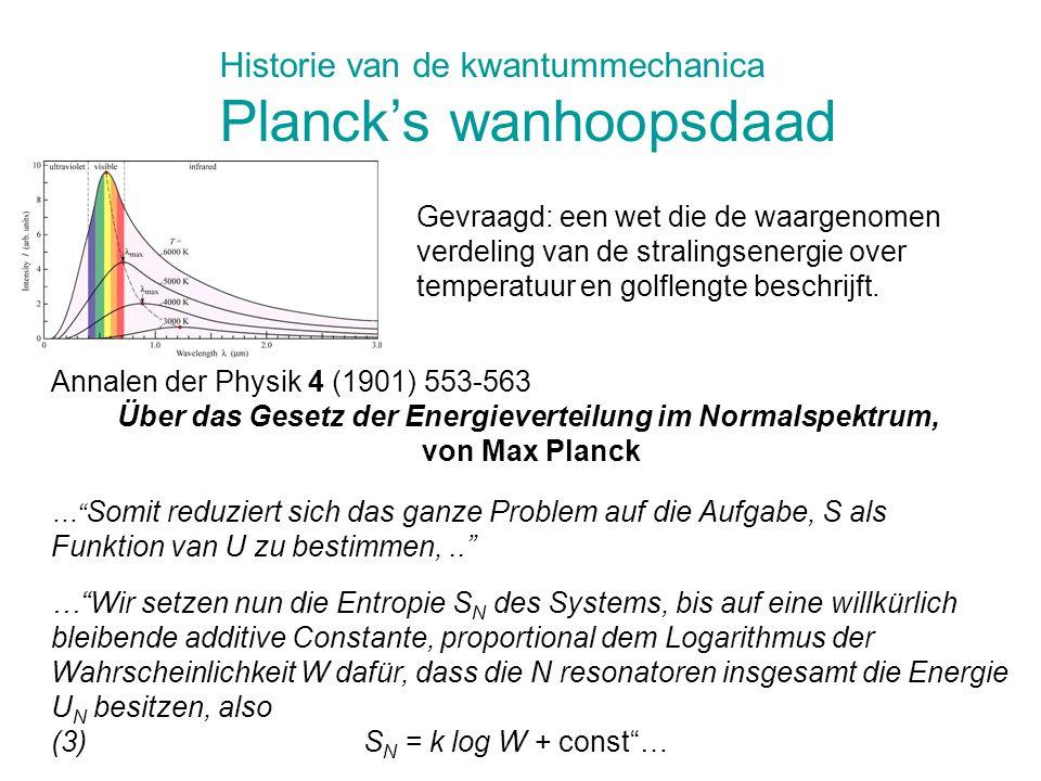 """…"""" Somit reduziert sich das ganze Problem auf die Aufgabe, S als Funktion van U zu bestimmen,.."""" Annalen der Physik 4 (1901) 553-563 Über das Gesetz d"""