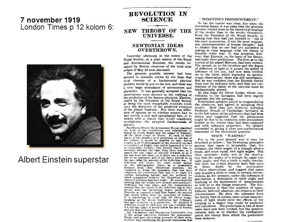 7 november 1919 London Times p 12 kolom 6: Albert Einstein superstar