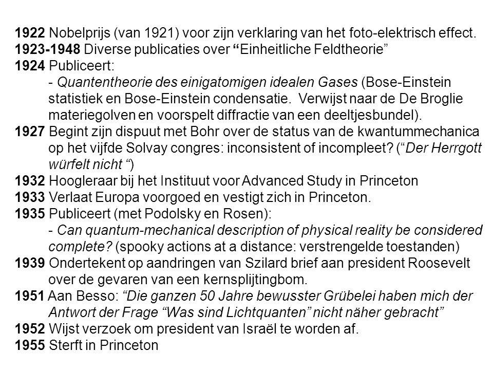 """1922 Nobelprijs (van 1921) voor zijn verklaring van het foto-elektrisch effect. 1923-1948 Diverse publicaties over """"Einheitliche Feldtheorie"""" 1924 Pub"""