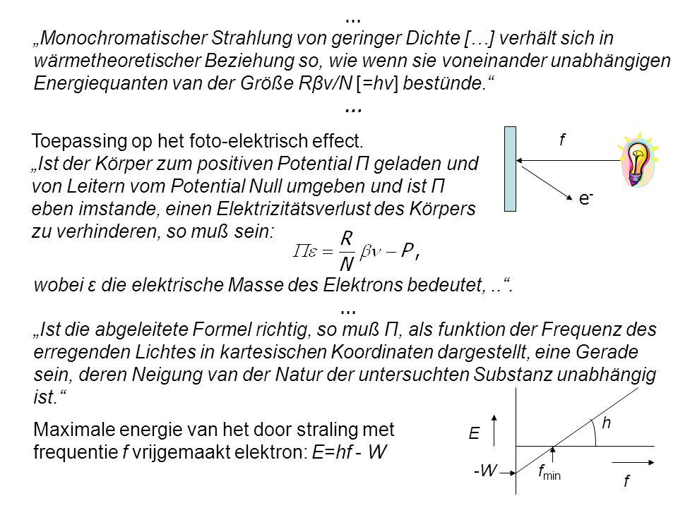 """Toepassing op het foto-elektrisch effect. """"Ist der Körper zum positiven Potential П geladen und von Leitern vom Potential Null umgeben und ist П eben"""