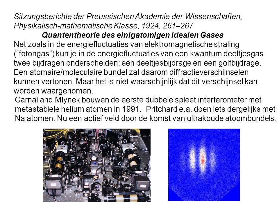 Sitzungsberichte der Preussischen Akademie der Wissenschaften, Physikalisch-mathematische Klasse, 1924, 261–267 Quantentheorie des einigatomigen ideal