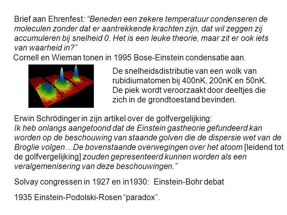 Cornell en Wieman tonen in 1995 Bose-Einstein condensatie aan. De snelheidsdistributie van een wolk van rubidiumatomen bij 400nK, 200nK en 50nK. De pi