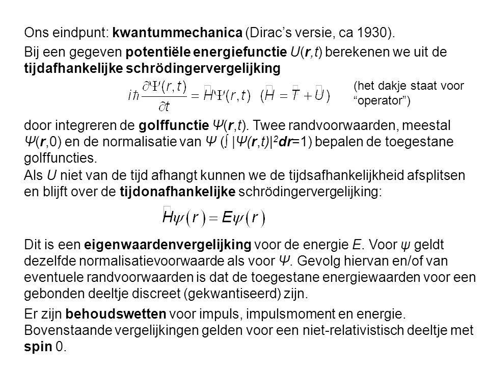 Ons eindpunt: kwantummechanica (Dirac's versie, ca 1930). Bij een gegeven potentiële energiefunctie U(r,t) berekenen we uit de tijdafhankelijke schröd