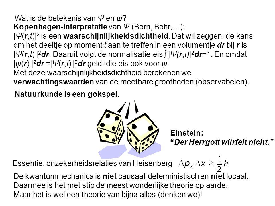 Kopenhagen-interpretatie van Ψ (Born, Bohr,…): |Ψ(r,t)| 2 is een waarschijnlijkheidsdichtheid. Dat wil zeggen: de kans om het deeltje op moment t aan