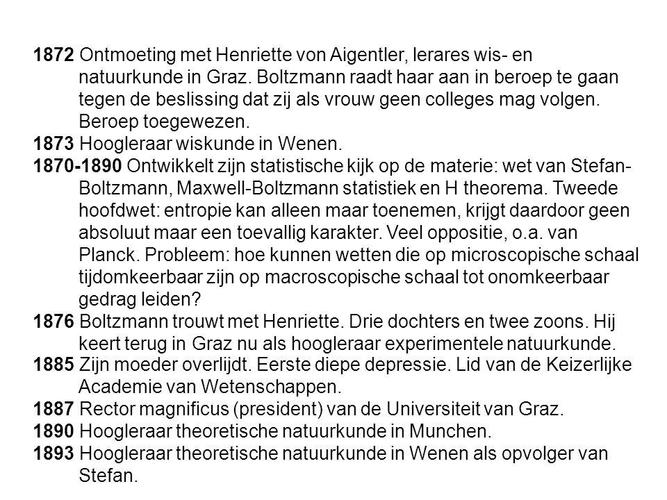 1872 Ontmoeting met Henriette von Aigentler, lerares wis- en natuurkunde in Graz. Boltzmann raadt haar aan in beroep te gaan tegen de beslissing dat z