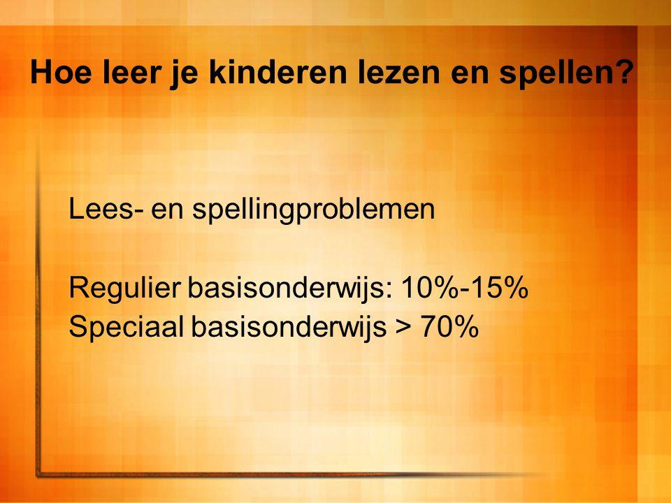 Hoe leer je kinderen lezen en spellen? Lees- en spellingproblemen Regulier basisonderwijs: 10%-15% Speciaal basisonderwijs > 70%