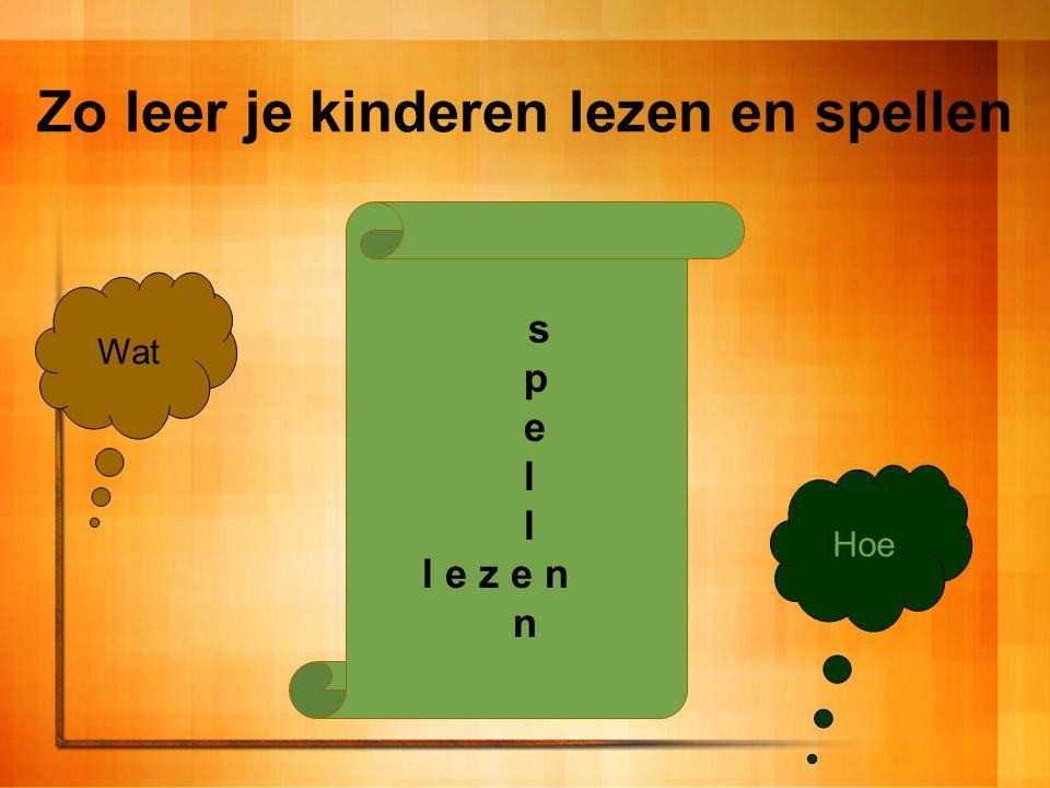 Het 'Wat' Structuur van de Nederlandse spelling gebruiken Regels (denk aan de raam/ramen of ram/rammen) Denkwijzen (oei, je hoort en j en je schrijft een i) Structuur van oefeningen doorhebben Leesoefeningen vooraf aan lezen Spellingoefening vooraf aan spellen